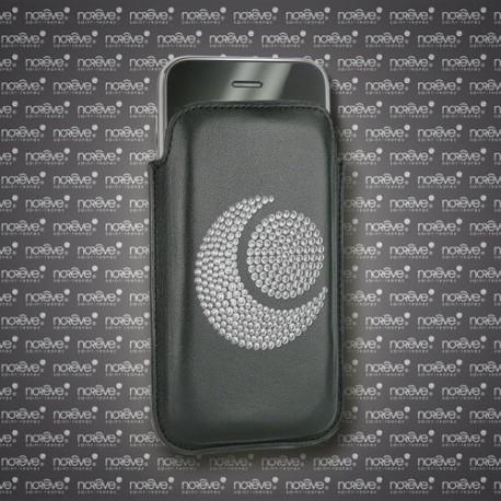 Capa em pele Apple iPhone Diamants - Noir ( Nappa - Black )